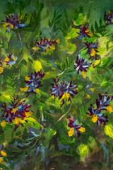 FototapetaOil painting Bush of violet yellow flowers on a green background nature flower illustration artwork on canvas art