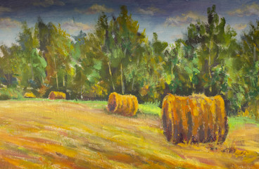 Fototapeta Wiejski haystacks rolle on orange field original painting landscape illustration