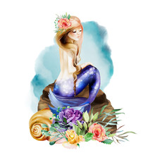 Beautiful Watercolor Mermaid Sitting On A Stone With Seashel And  Flowers, Floral Bouquet