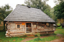 An Ancient Fairy-tale House Of Wood Is On The Outskirts Of The Village. It Is Evident That Nobody Lives There Yet