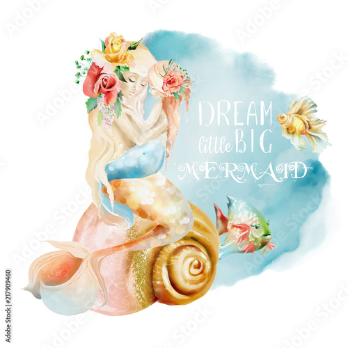 Photographie  Beautiful watercolor mermaid mother with little baby mermaid sitting on a seashe
