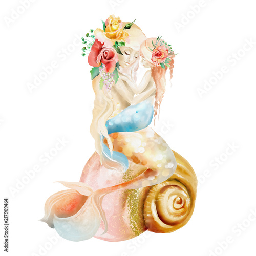 Beautiful watercolor mermaid mother with little baby mermaid sitting on a seashe Poster