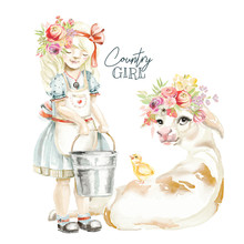 Cute Watercolor Farm, Country Girl With Floral, Flowers Wreath, Bouquet, Dairy Milk Bucket And Cow With Little Chiken