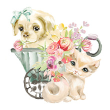 Cute Watercolor Blue Eyed Kitten And Little Dog, Puppy With Tied Bow In A Garden Wagon With Flowers