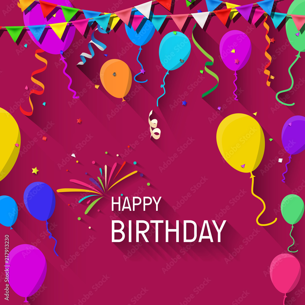 Happy Birthday Greeting Card With Colorful Balloons And Confetti Foto Poster Wandbilder Bei EuroPosters