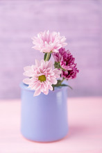 Pink And Purple Delicate Chrysanthemums In Vase On A Light Wooden Background. Free Space