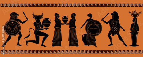 Fototapeta The first six signs of the zodiac as myths of ancient Greece in decorative borde