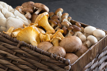 Variety Of Uncooked Wild Forest Mushrooms In A Wicker Basket On A Black Background, Flat Lay. Mushrooms Chanterelles, Honey Agarics, Oyster Mushrooms, Champignons, Portobello, Shiitake