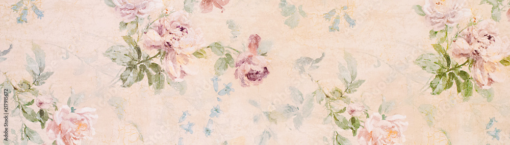 Fototapeta Banner - Vintage paper with roses - web header template - website simple design