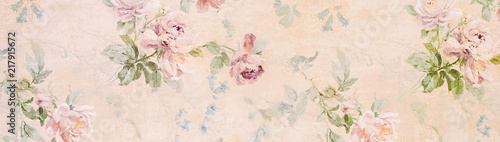 Foto auf Leinwand Retro Banner - Vintage paper with roses - web header template - website simple design