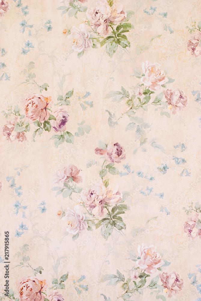 Vintage Background with Roses - Floral Illustration - Old Paper Texture