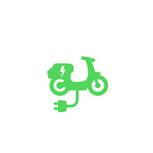 Electric Scooter Icon On White, Green Transport, Vector