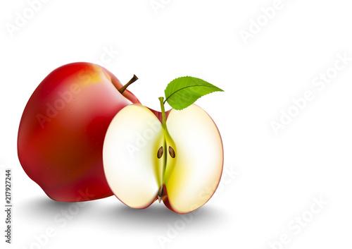 Fototapeta jabłko jablko-cale-i-rozkrojone