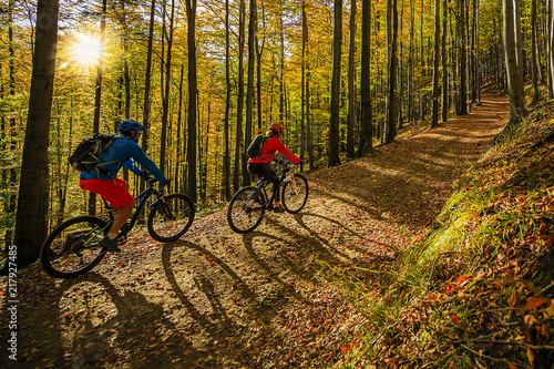 Foto  Cycling, mountain biker couple on cycle trail in autumn forest