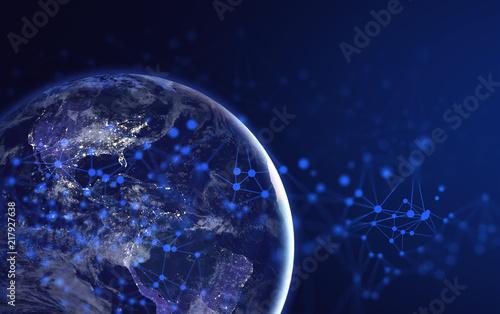 Fototapeta earth global social network 3d illustration background Elements of this image furnished by NASA obraz