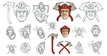 Hand Drawn Firefighter. Professional Fire Protection Concept. Rescuer. Firefighter Head In A Red Helmet. Vector Artwork