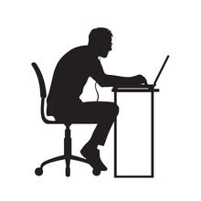 Silhouette Of Man Working At C...
