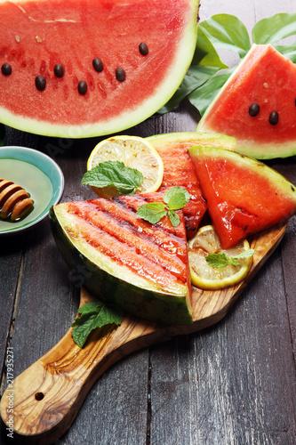 Ripe Healthy Organic Grilled Watermelon with Honey.