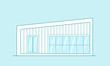 Modern house. Line art style vector illustration.