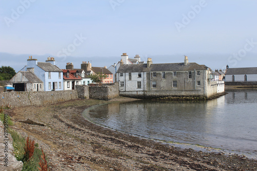 View of the picturesque harbour and surrounding buildings at the Isle of Whithorn in Dumfires and Galloway in Scotland Fototapet