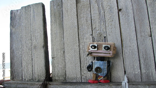 Robot character, homemade toy.