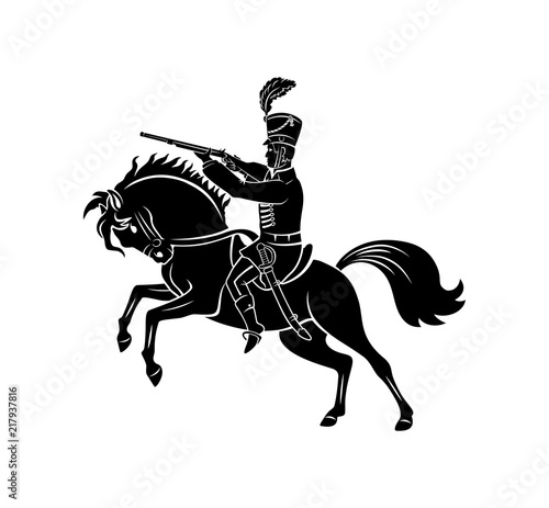 Canvas Print hussar on horseback