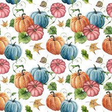Watercolor Bright Pumpkin And Leaves Seamless Pattern. Hand Painted Autumn Pumpkin Ornament With Branch Isolated On White Background. Botanical Illustration For Design And Fabric, Halloween.