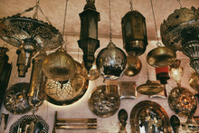 Moroccan Traditional Lamps And Lanterns On Display In The Souk Shop In The Center Of Medina In Marrakech, Morocco.