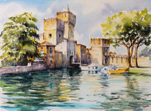 Sirmione, Northern Italy. Medieval Castle Scaliger On Lake Garda.Picture Created With Watercolors.
