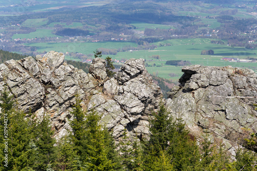 Fotografie, Obraz  Rock formation Virive kameny - Whirling Stones under Jested mountain peak with L