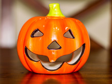 Halloween Pumpkin In Clay On A...