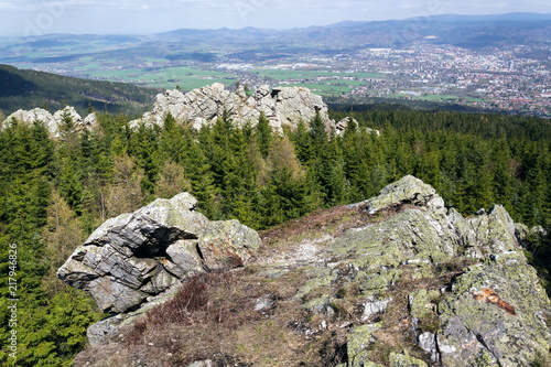 Fototapeta  Rock formation Virive kameny - Whirling Stones under Jested mountain peak with L