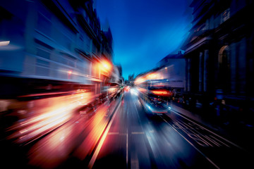 Motion speed effect in Oxford street at evening