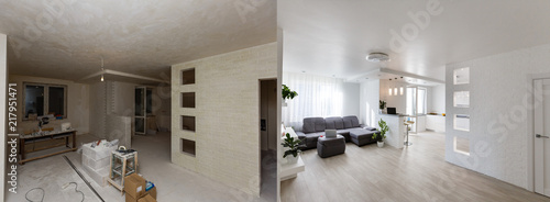 Obraz Renovation before and after - empty apartment room, new and old, - fototapety do salonu