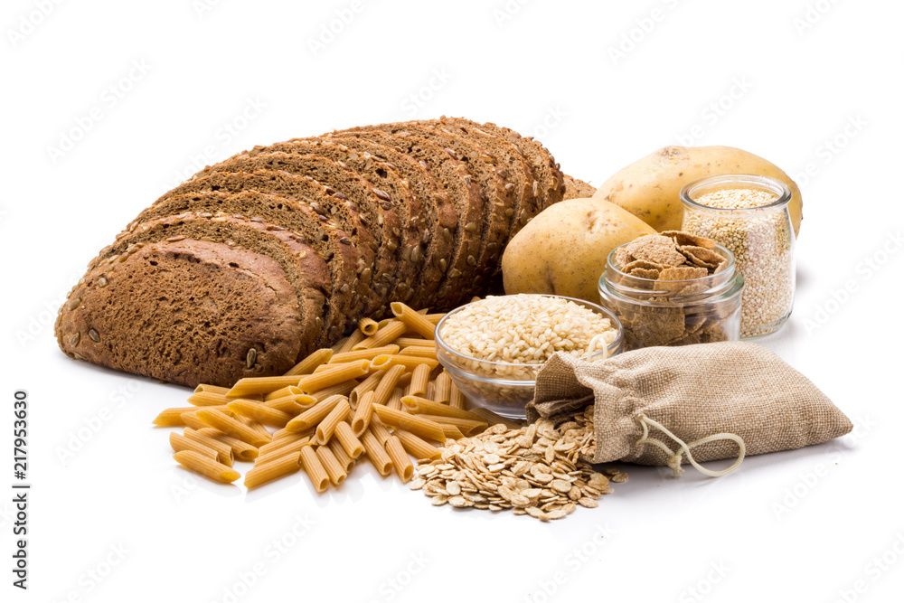 Fototapeta Group of whole foods, complex carbohydrates isolated on a white background