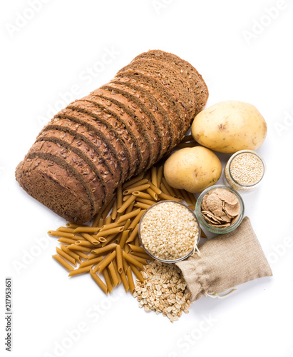 Fotografía Group of whole foods, complex carbohydrates isolated on a white background