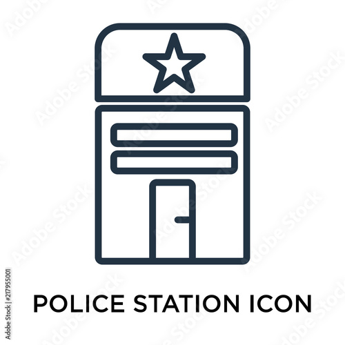 Fotografía  Police station icon vector isolated on white background, Police station sign , t