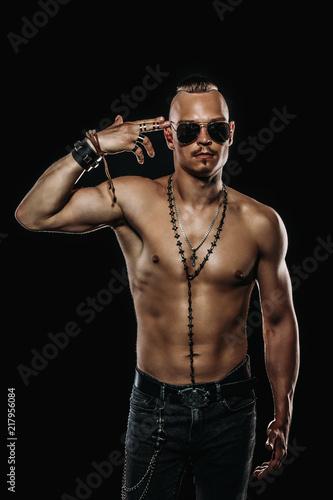 Fotobehang Akt rocker shirtless man