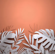 canvas print picture - Folded Paper art origami. Tropical summer palm leaves background. Paper craft 3D illustration.