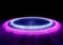 Neon Circles Of Car Light Trails. 3D Illustration