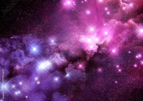 Naklejki kosmos  rozowe-i-fioletowe-mglawice-galaktyki-i-gwiazdy-tla-ilustracja-rastrowych