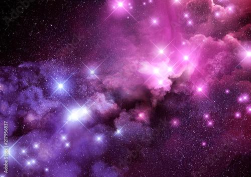 Naklejki kosmos  pink-and-purple-galaxy-nebula-and-stars-background-raster-illustration