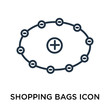 Shopping bags icon vector isolated on white background, Shopping bags sign , thin symbol or stroke element design in outline style