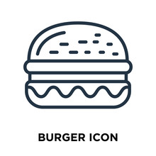 Burger Icon Isolated On White ...