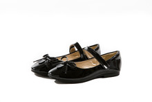 Black Patent Leather Mary Jane Shoes With Bows