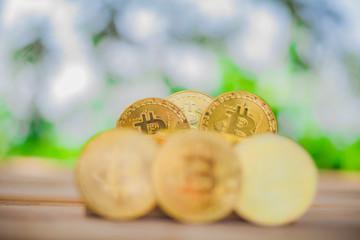 Obraz na płótnie Canvas Bitcoin  background  natural bokeh