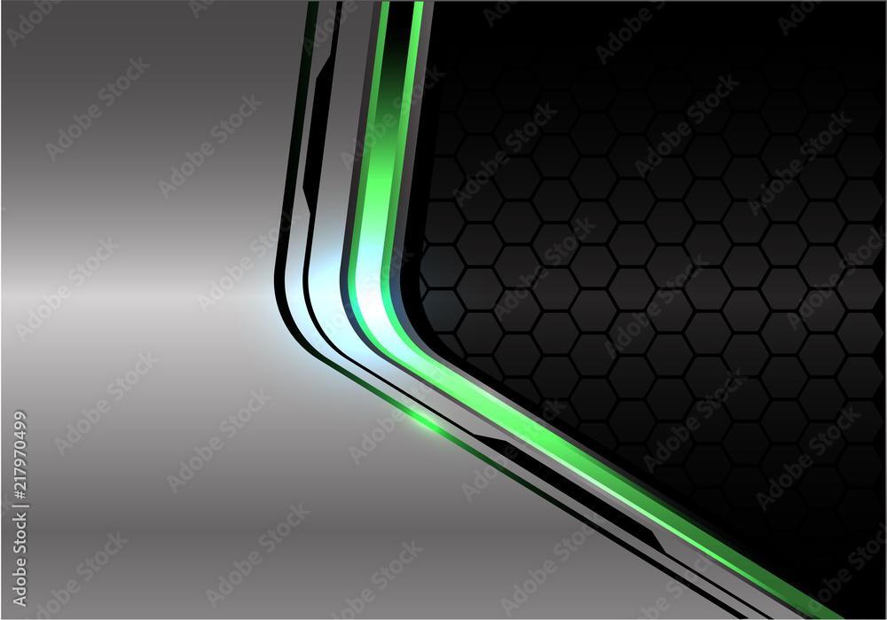 Fototapeta Abstract vector green light black line on metal with dark hexagon mesh design modern futuristic technology background illustration.