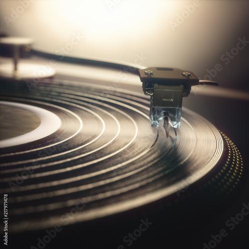 Cuadros en Lienzo Vinyl record being played on old retro vintage disc jockey device