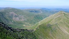 Englands One Of The Most Favourite Walks Helvellyn Via Swirral Edge And Striding Edge. Mountainscape With Incredible Views