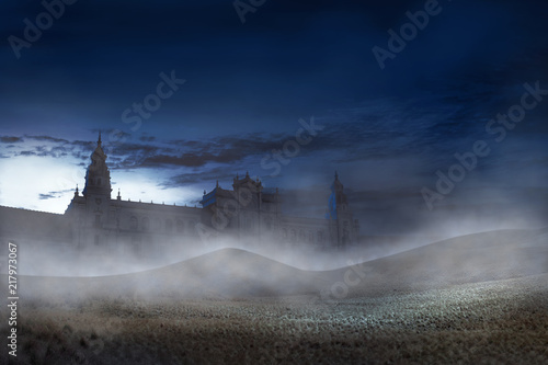 Old building with scary mist on the night Canvas Print